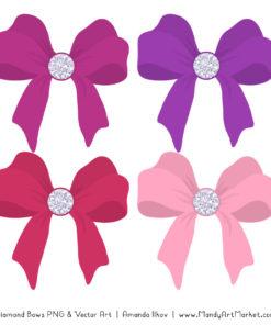 Fuchsia Diamond Bow Clipart