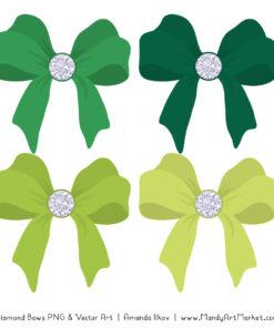 Green Diamond Bow Clipart