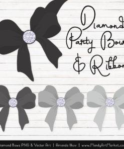 Grey Diamond Bow Clipart