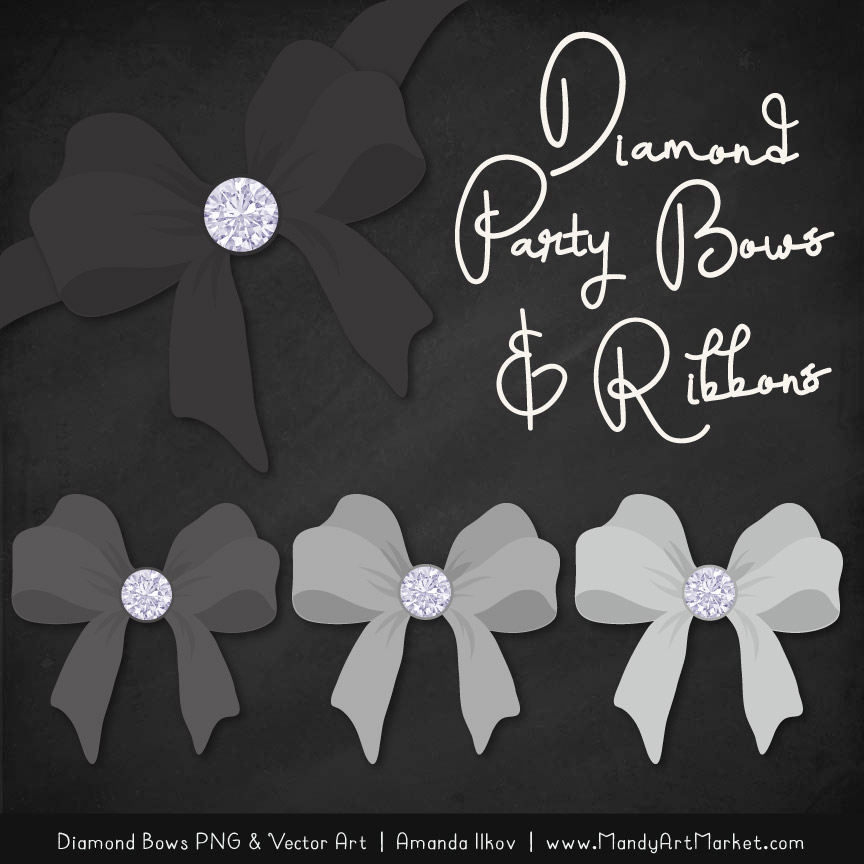 Grey Diamond Bow Clipart