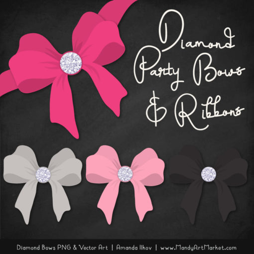Hot Pink Diamond Bow Clipart