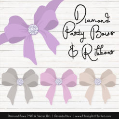 Lavender Diamond Bow Clipart