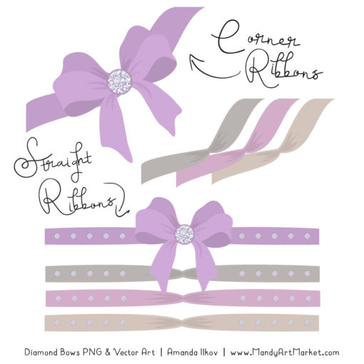 Lavender Diamond Bow Clipart