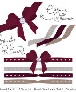 Merlot Diamond Bow Clipart