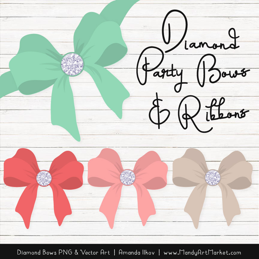 Mint & Coral Diamond Bow Clipart