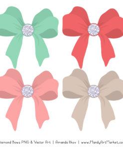 Mint & Coral Diamond Bow Clipart