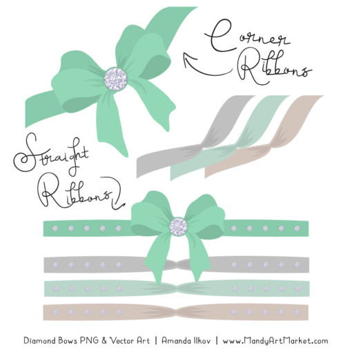 Mint Diamond Bow Clipart