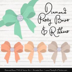 Mint & Peach Diamond Bow Clipart