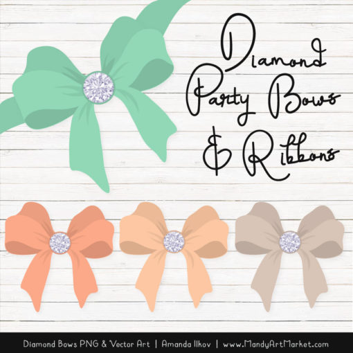 Mint & Peach Diamond Bow Clipart