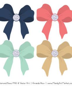 Modern Chic Diamond Bow Clipart