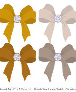 Mustard Diamond Bow Clipart