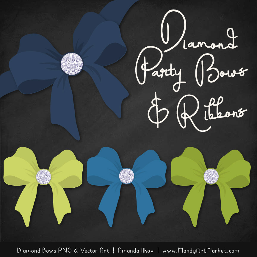 Navy & Bamboo Diamond Bow Clipart