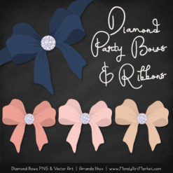 Navy & Blush Diamond Bow Clipart