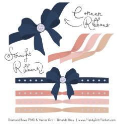 Navy & Blush Diamond Bow Clipart