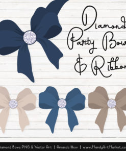 Navy Diamond Bow Clipart