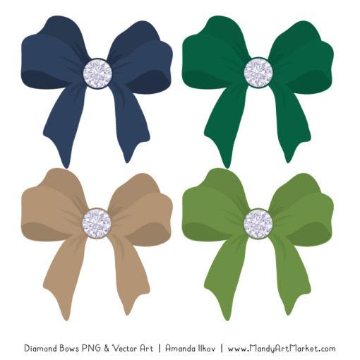 Navy & Emerald Diamond Bow Clipart