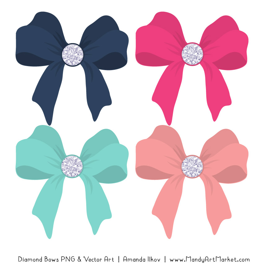 Navy & Hot Pink Diamond Bow Clipart