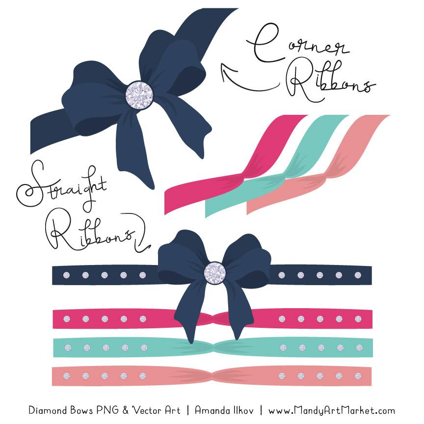 Navy & Hot Pink Diamond Bow Clipart
