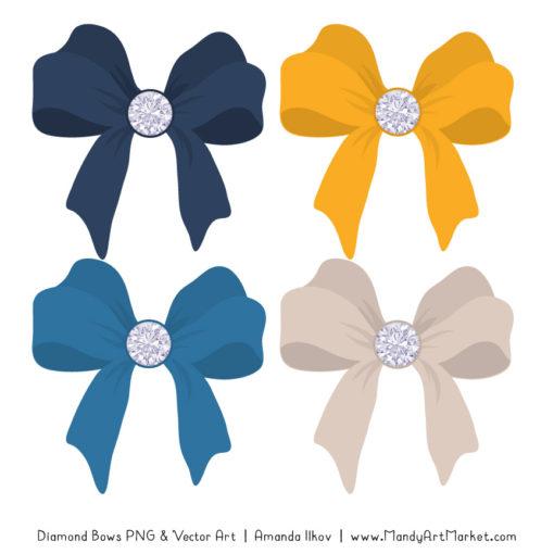 Navy & Lemon Diamond Bow Clipart