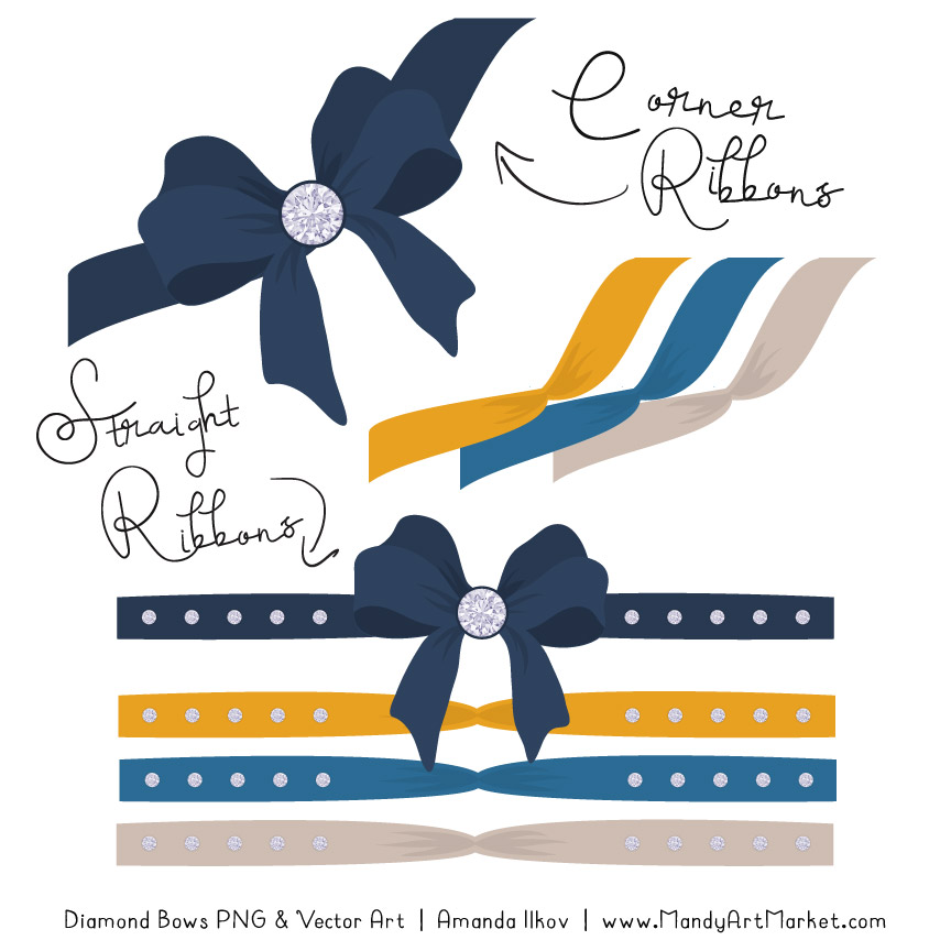 Navy & Lemon Diamond Bow Clipart