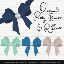 Navy & Mint Diamond Bow Clipart