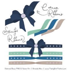 Navy & Mint Diamond Bow Clipart