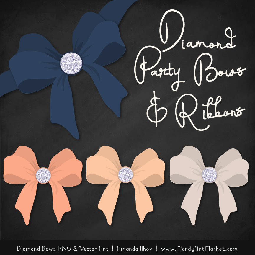 Navy & Peach Diamond Bow Clipart