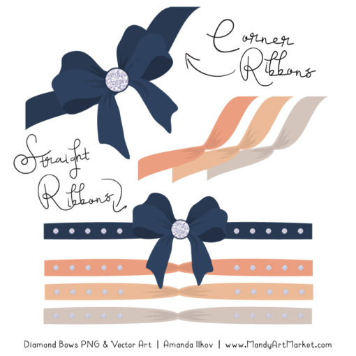 Navy & Peach Diamond Bow Clipart