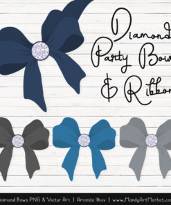 Navy & Pewter Diamond Bow Clipart