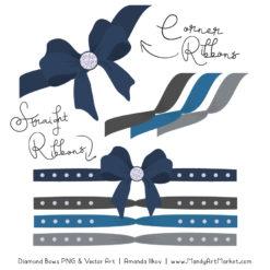 Navy & Pewter Diamond Bow Clipart
