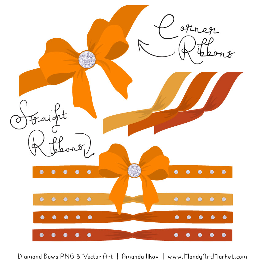 Orange Diamond Bow Clipart