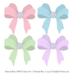 Pastel Diamond Bow Clipart
