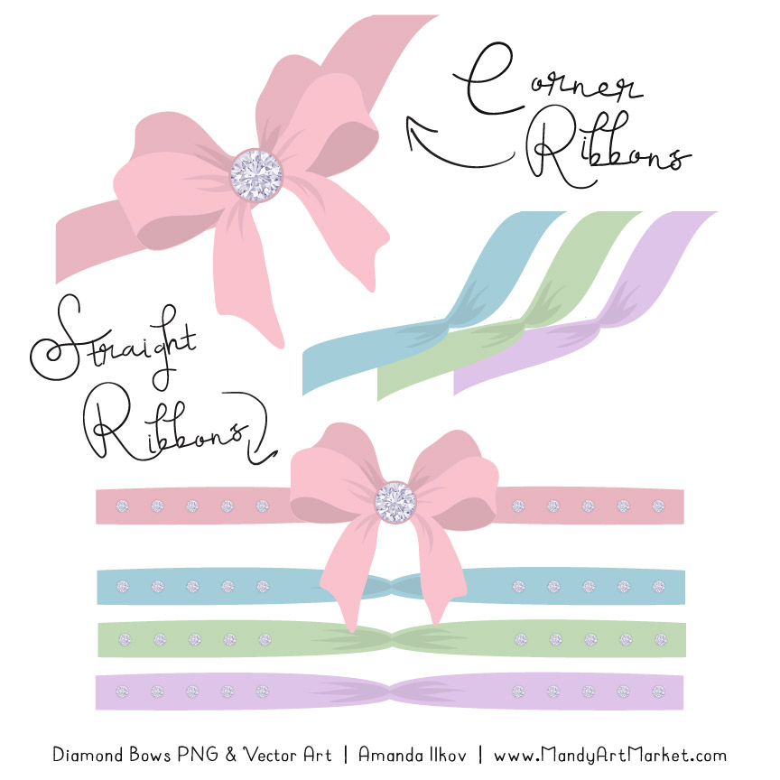 Pastel Diamond Bow Clipart