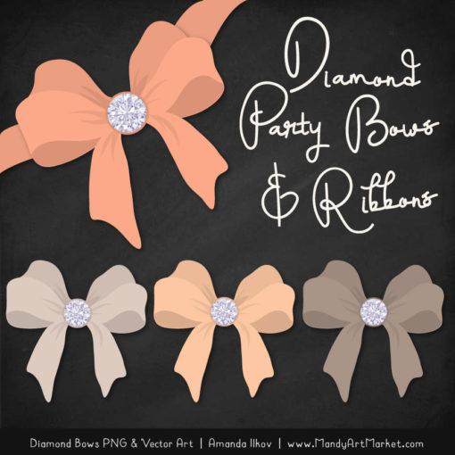 Peach Diamond Bow Clipart