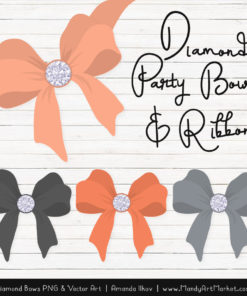 Peach & Pewter Diamond Bow Clipart