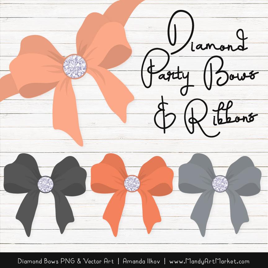 Peach & Pewter Diamond Bow Clipart