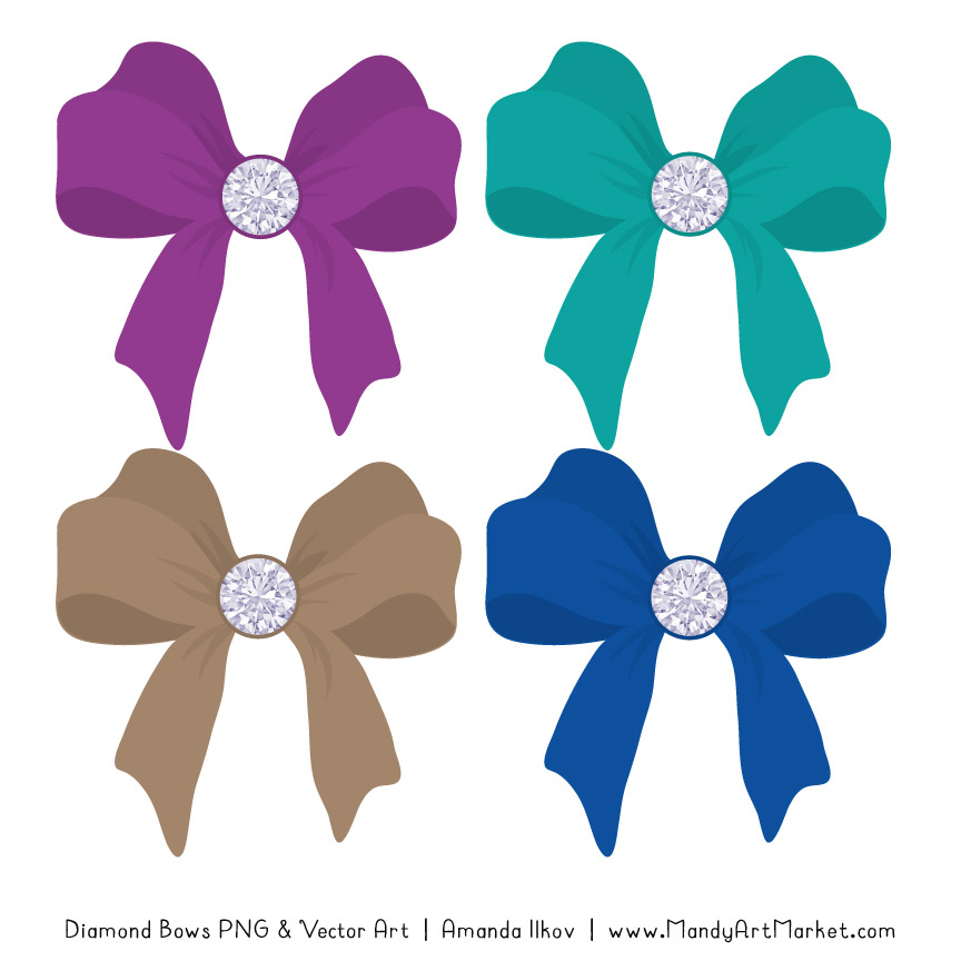 Peacock Diamond Bow Clipart