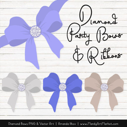 Periwinkle Diamond Bow Clipart