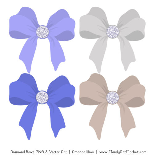 Periwinkle Diamond Bow Clipart