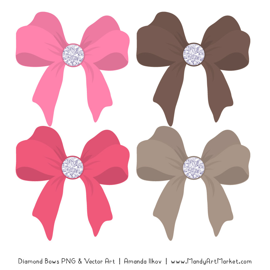Pink & Brown Diamond Bow Clipart