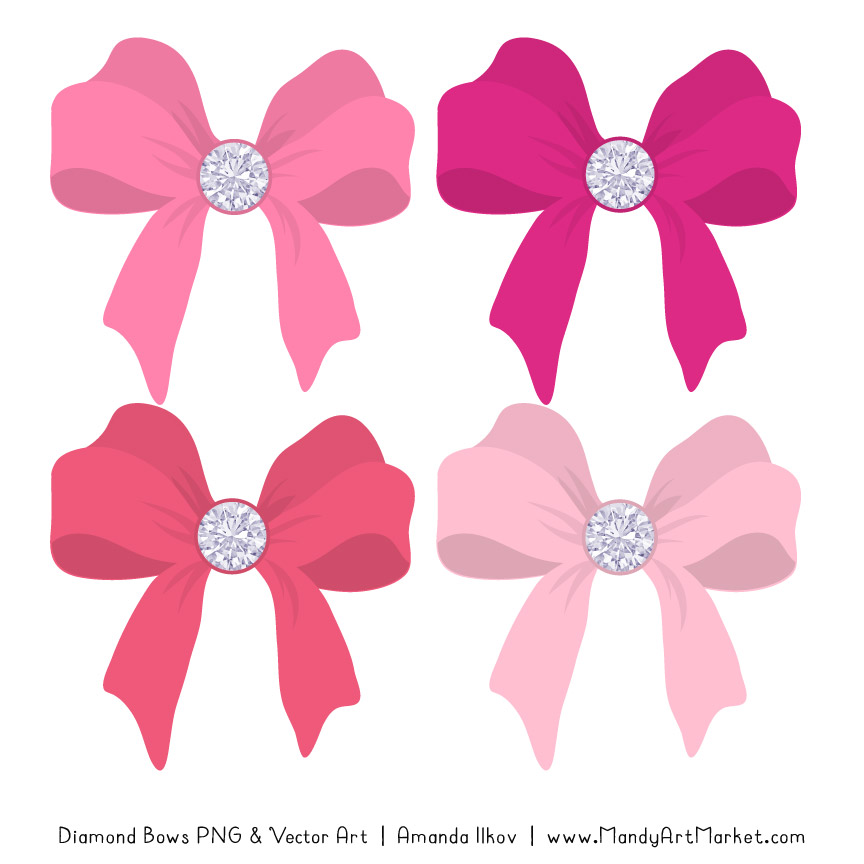 Pink Diamond Bow Clipart