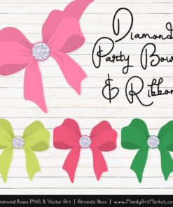 Pink & Green Diamond Bow Clipart