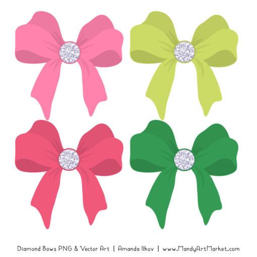 Pink & Green Diamond Bow Clipart