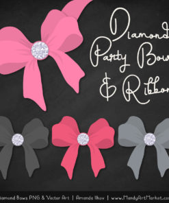 Pink & Pewter Diamond Bow Clipart