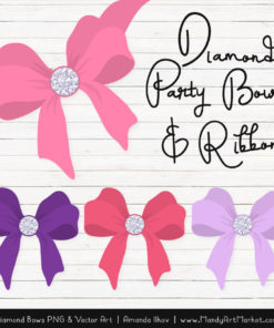 Pink & Purple Diamond Bow Clipart