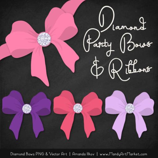 Pink & Purple Diamond Bow Clipart