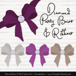 Plum Diamond Bow Clipart