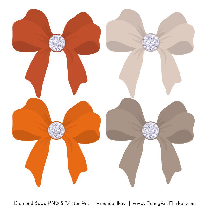 Pumpkin Diamond Bow Clipart