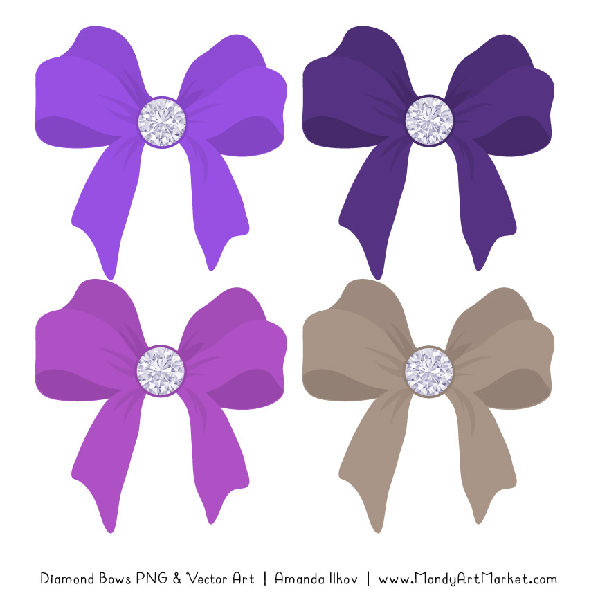 Purple Diamond Bow Clipart