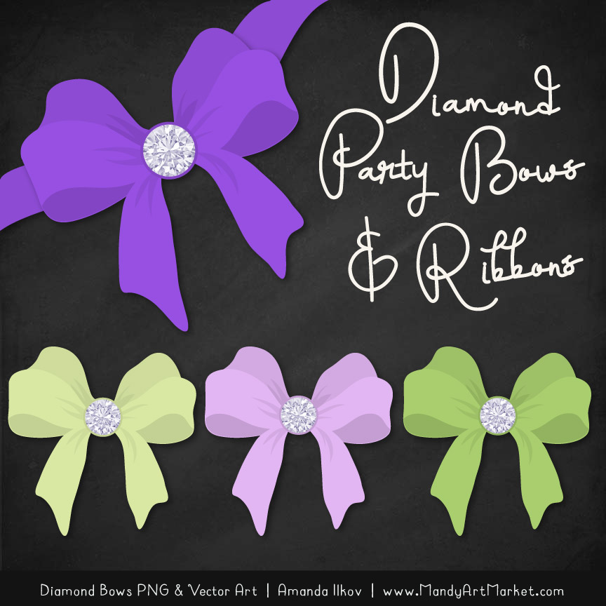 Purple & Lime Diamond Bow Clipart
